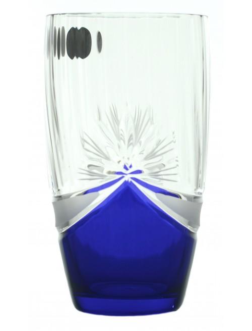 Set Bicchieri 6x, vetro trasparente, dipinto blu, volume 350 ml