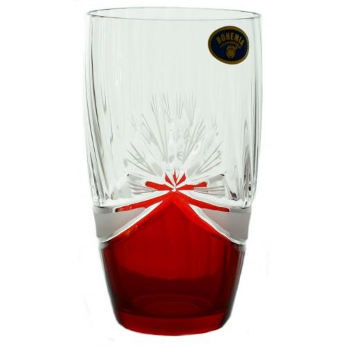 Set Bicchieri 6x, vetro trasparente, dipinto rosso, volume 350 ml