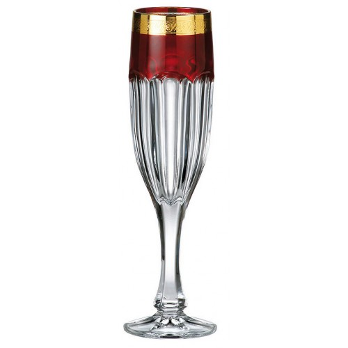 Set bicchieri Safari 6x, vetro trasparente dipinto oro, volume 150 ml