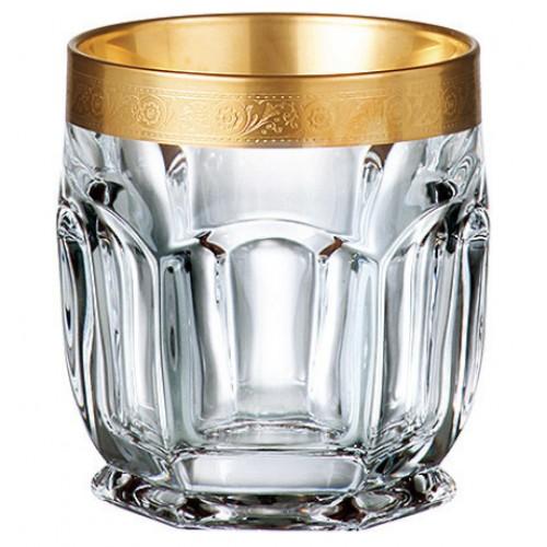 Set bicchieri Safari 6x, vetro trasparente dipinto oro, volume 250 ml