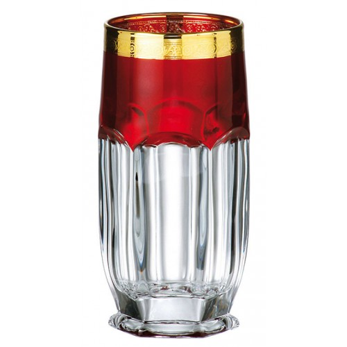 Set bicchieri Safari 6x, vetro trasparente dipinto oro, volume 300 ml