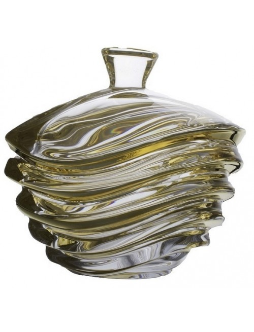 Confettiera Wave, vetro trasparente dipinto oro, diametro 220 mm