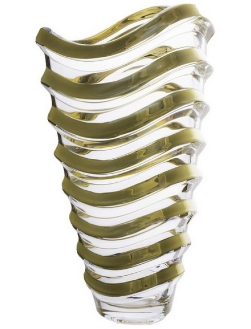 Vaso Wave, vetro trasparente dipinto oro, altezza 340 mm