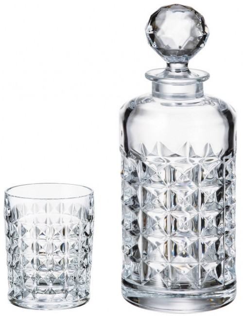 Set Whisky Diamond 1+6, vetro trasparente