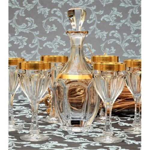 Set bicchieri Safari, vetro trasparente dipinto oro, volume 190 ml