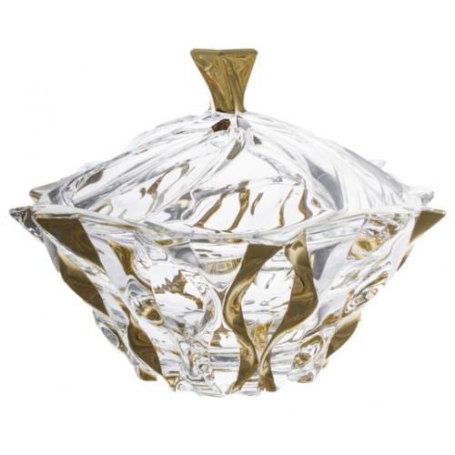 Confettiera Samba, vetro trasparente dipinto oro, diametro 210 mm