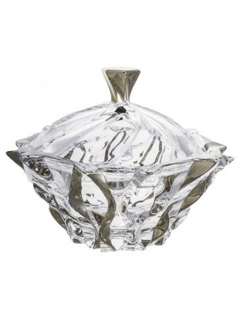 Confettiera Samba, vetro trasparente dipinto platino, diametro 210 mm