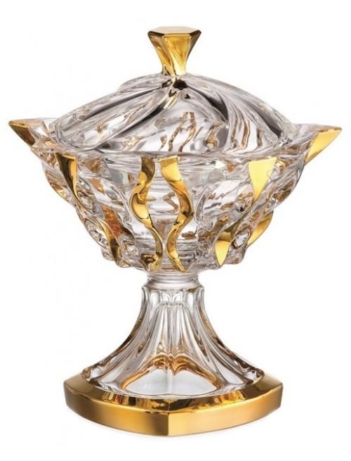 Confettiera Samba, vetro trasparente dipinto oro, diametro 250 mm