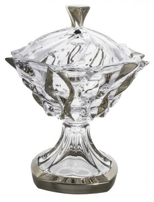 Confettiera Samba, vetro trasparente dipinto platino, diametro 250 mm