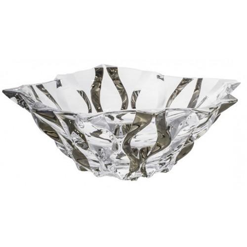 Insalatiera Samba, vetro trasparente dipinto platino, diametro 305 mm