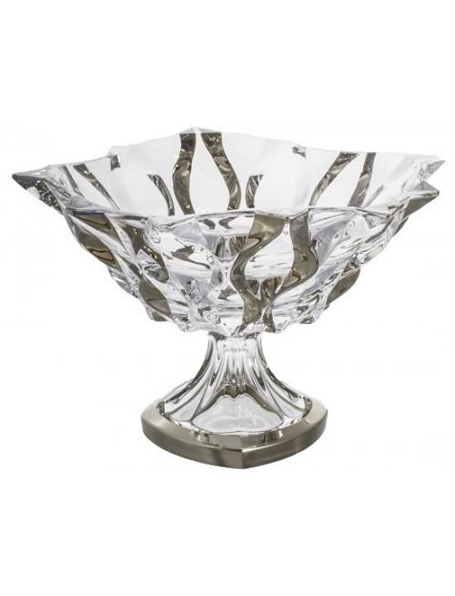 Portafrutta Samba, vetro trasparente dipinto platino, diametro 305 mm