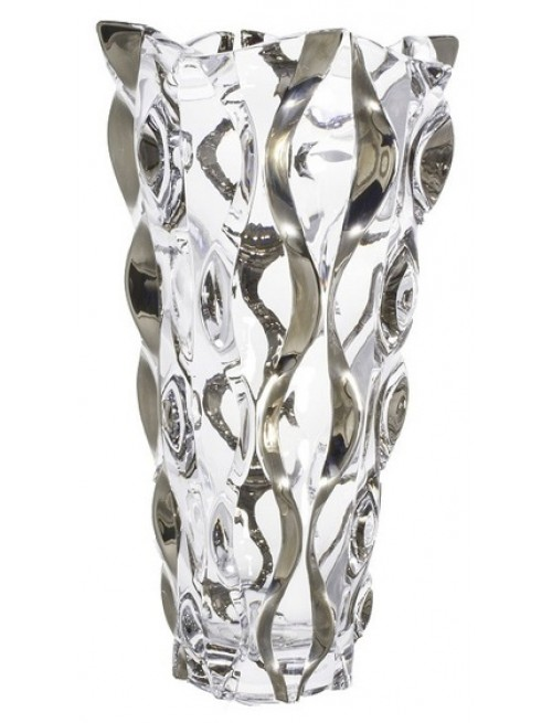 Vaso Samba, vetro trasparente dipinto platino, altezza 305 mm