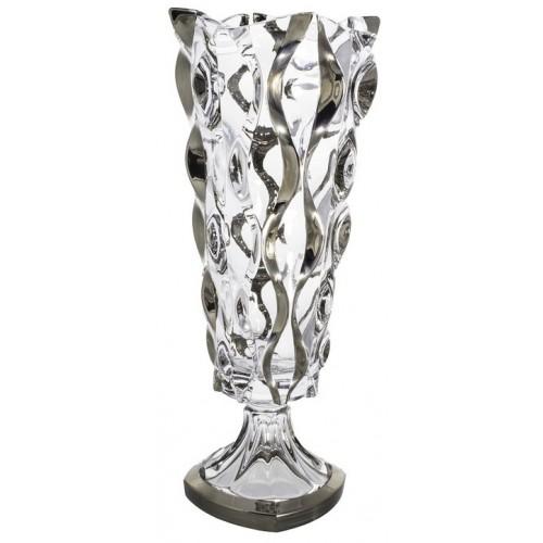 Vaso Samba, vetro trasparente dipinto platino, altezza 405 mm