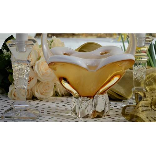 Cesto artigianale, vetro, color ambra, altezza 340 mm