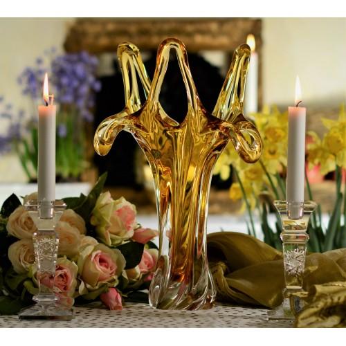Vaso artigianale, vetro, colore ambra, altezza 380 mm