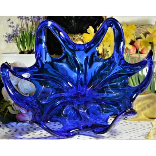 Insalatiera artigianale, vetro, colore blu, diametro 400 mm
