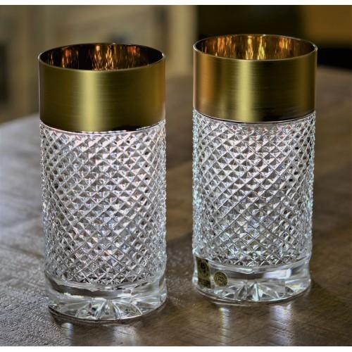 Bicchiere, cristallo trasparente dipinto oro, volume 350 ml