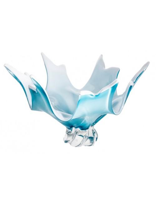 Insalatiera artigianale, vetro, colore azzurro, diametro 380 mm