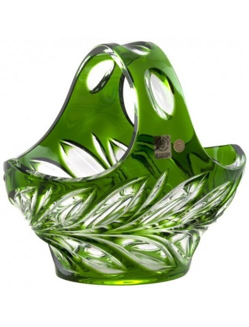 Cesto Fluora, cristallo, colore verde, diametro 200 mm