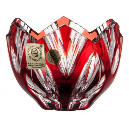 Ciotola Lotos, cristallo, colore rosso, diametro 85 mm
