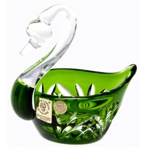 Cigno Miniature, cristallo, colore verde, diametro 100 mm