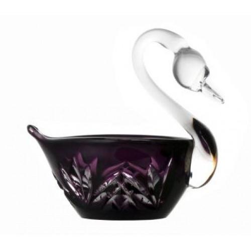 Cigno Miniature, cristallo, colore viola, diametro 100 mm