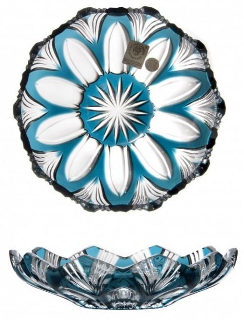 Piatto Lotos, cristallo, colore azzurro, diametro 145 mm