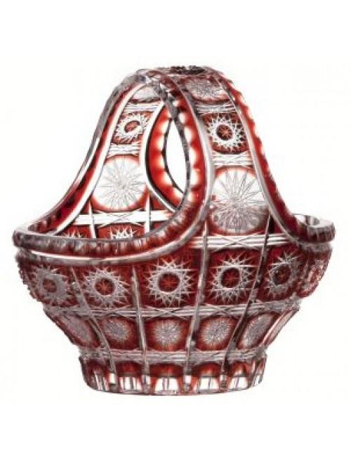 Cesto Paula, cristallo, colore rosso, diametro 200 mm