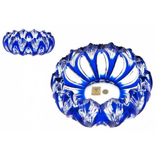 Portacenere Lotos, cristallo, colore blu, diametro 155 mm