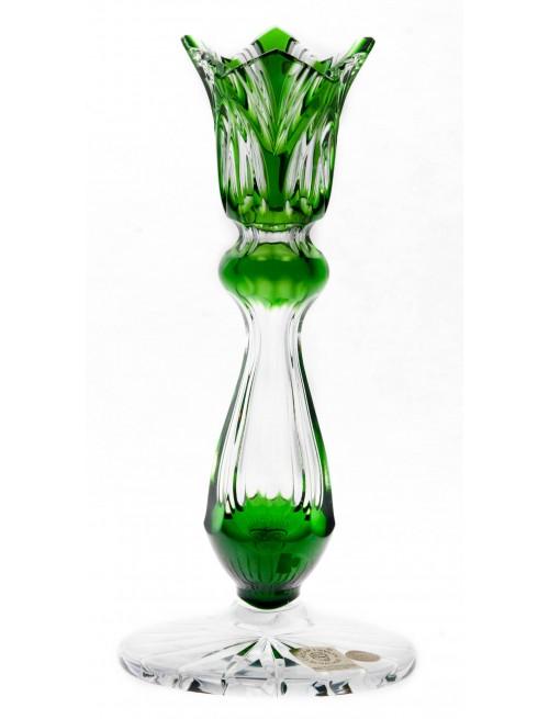 Portacandela Lotos, cristallo, colore verde, altezza 175 mm