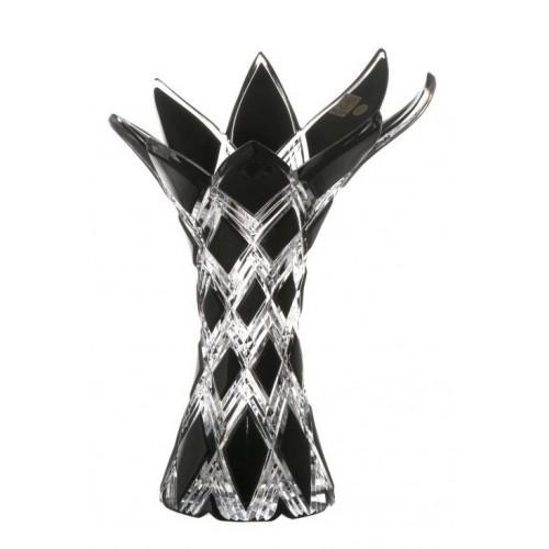 Vaso Harlequin, cristallo, colore nero, altezza 270 mm