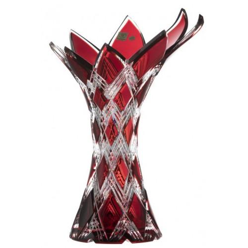 Vaso Harlequin, cristallo, colore rosso, altezza 270 mm