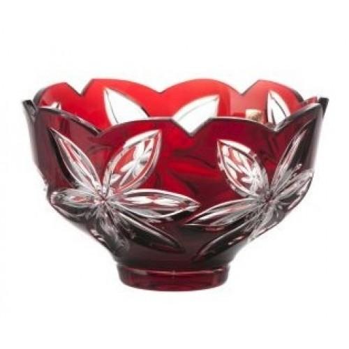 Insalatiera Linda, cristallo, colore rosso, diametro 200 mm