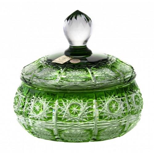 Confettiera Paula, cristallo, colore verde, altezza 128 mm