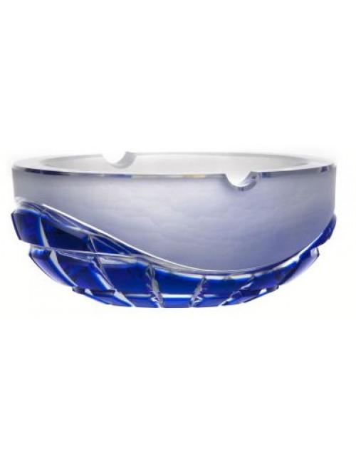 Portacenere Neron, cristallo, colore blu, diametro 160 mm