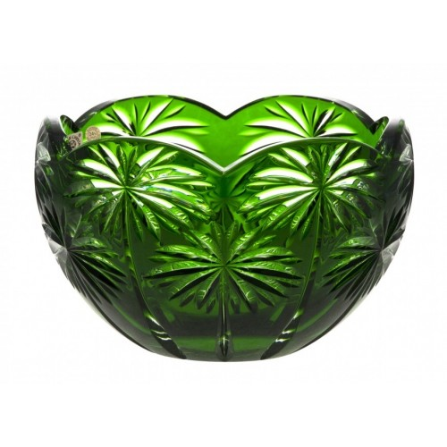 Insalatiera Palm, cristallo, colore verde, diametro 200 mm