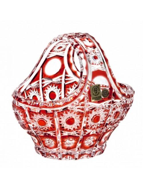 Cesto Petra, cristallo, colore rosso, diametro 150 mm