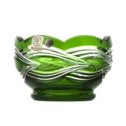 Ciotola Sgrafito, cristallo, colore verde, diametro 110 mm