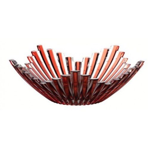 Insalatiera Mikado, cristallo, colore rosso, diametro 230 mm