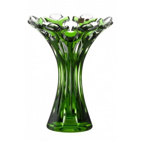 Vaso Flamenco, cristallo, colore verde, altezza 250 mm