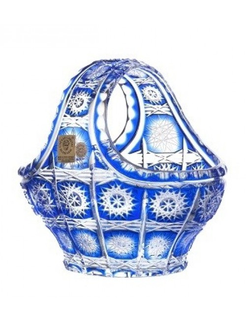 Cesto Paula, cristallo, colore blu, diametro 150 mm