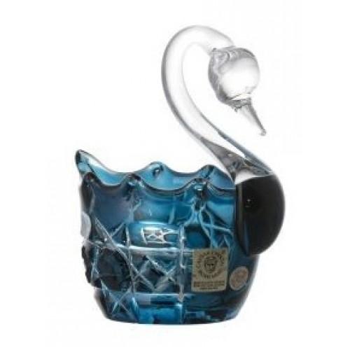 Cigno Octagon, cristallo, colore azzurro, diametro 80 mm