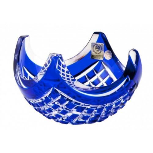 Ciotola Quadrus, cristallo, colore blu, diametro 140 mm