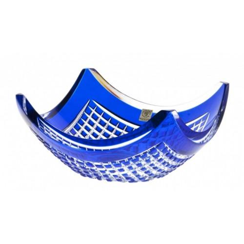 Insalatiera Quadrus, cristallo, colore blu, diametro 280 mm