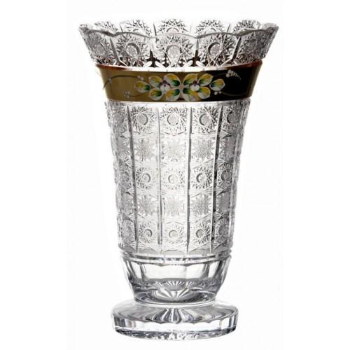 Vaso 500PK, cristallo trasparente dipinto oro, altezza 355 mm