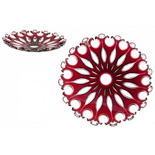 Piatto Flamenco, cristallo, colore rosso, diametro 350 mm