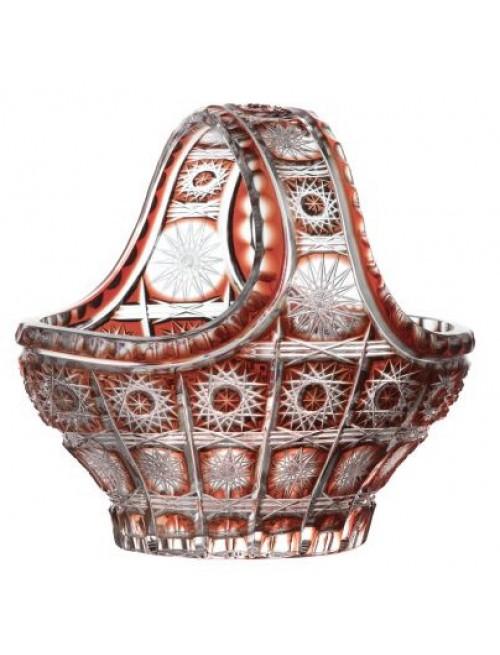 Cesto Paula, cristallo, colore rosso, diametro 150 mm