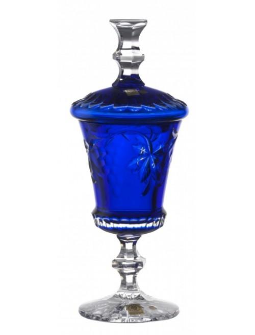 Coppa Grapes, cristallo, colore blu, altezza 350 mm