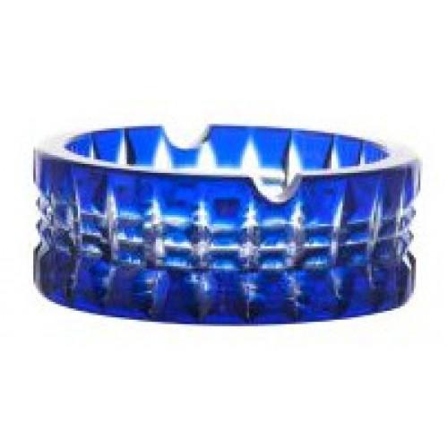 Portacenere Brilant, cristallo, colore blu, diametro 90 mm