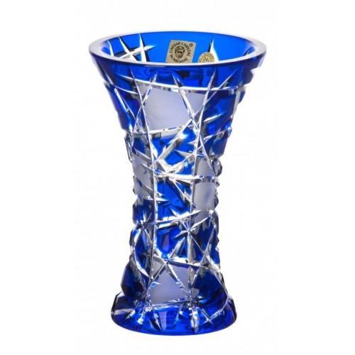 Vaso Mars, cristallo, colore blu, altezza 155 mm